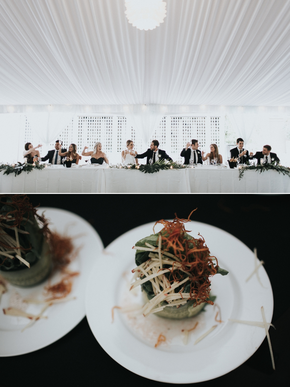 wedding-party-clinks-glasses-at-head-table