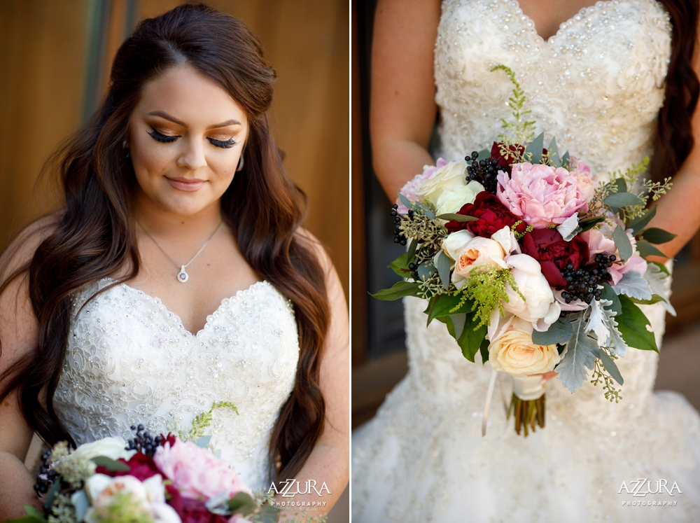 bride-in-strapless-gown-with-pink-and-red-bouquet