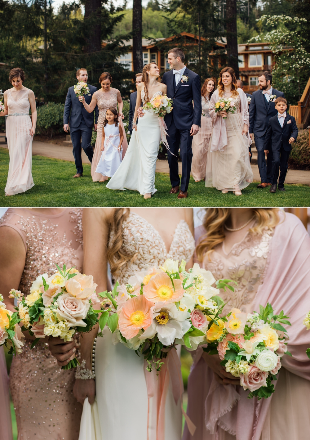 bride-and-bridesmaids-holding-yellow-flowers
