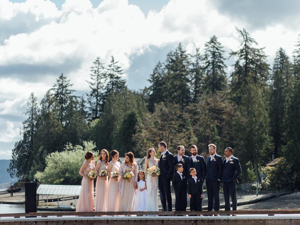 bridal-party-on-dock-at-alderbrook