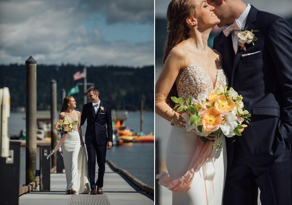 bride-and-groom-walking-on-dock-at-alderbrook