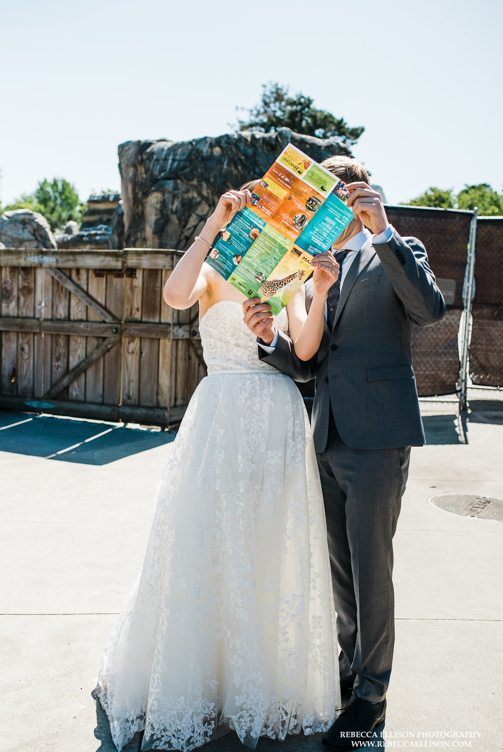 bride-and-groom-reading-zoo-map