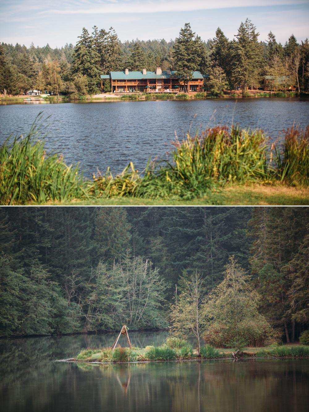 view-of-cabin-across-lake-and-wedding-teepee