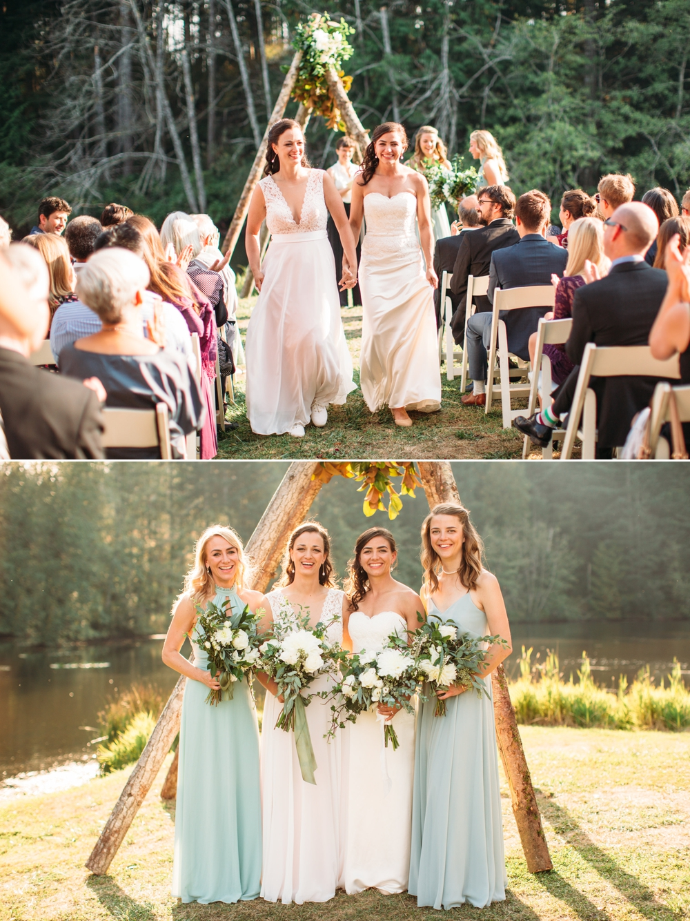 wedding-recessional-and-brides-with-bridesmaids