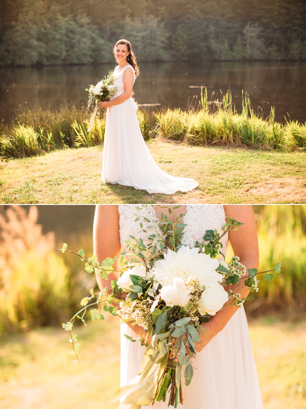 bride-holds-white-bouquet-by-lake