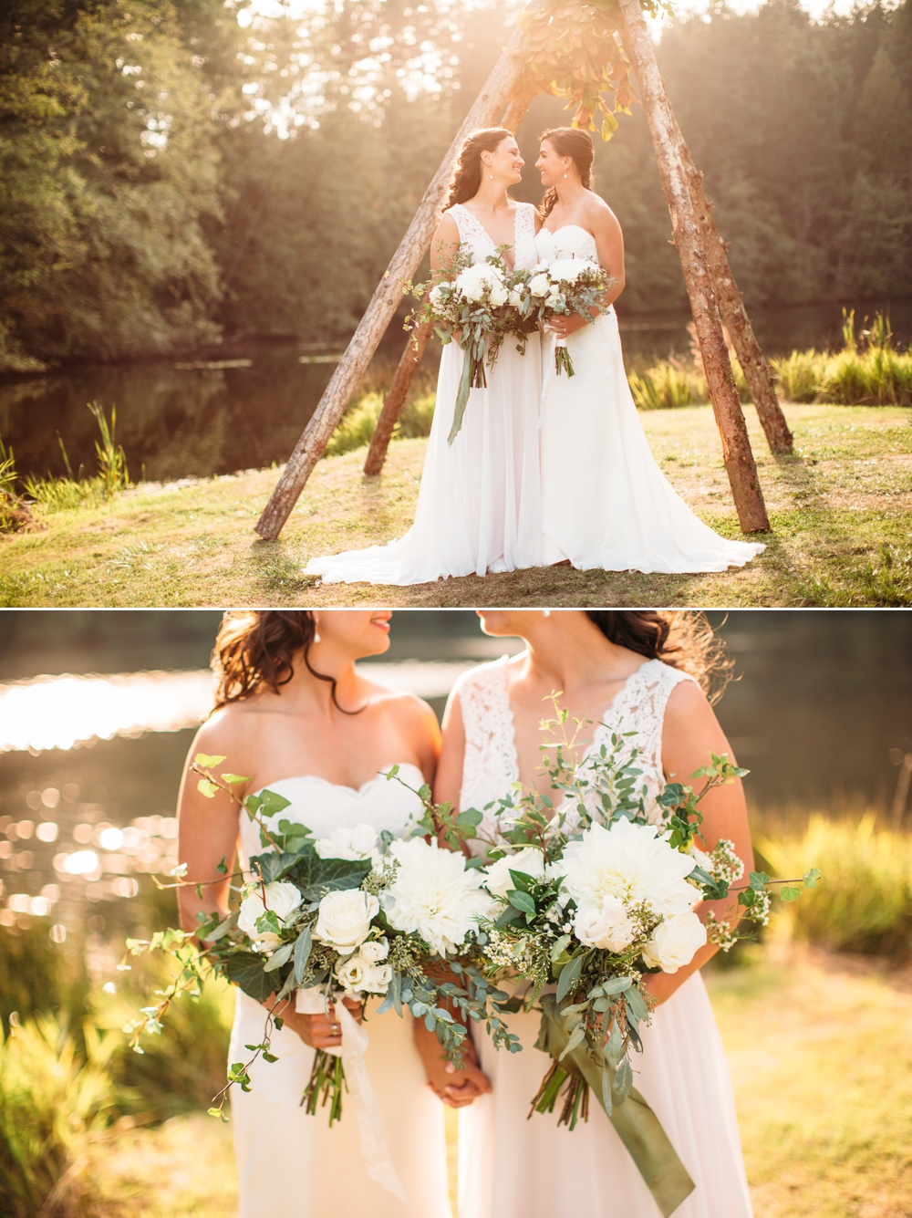 brides-hold-white-bouquets-by-wedding-teepee