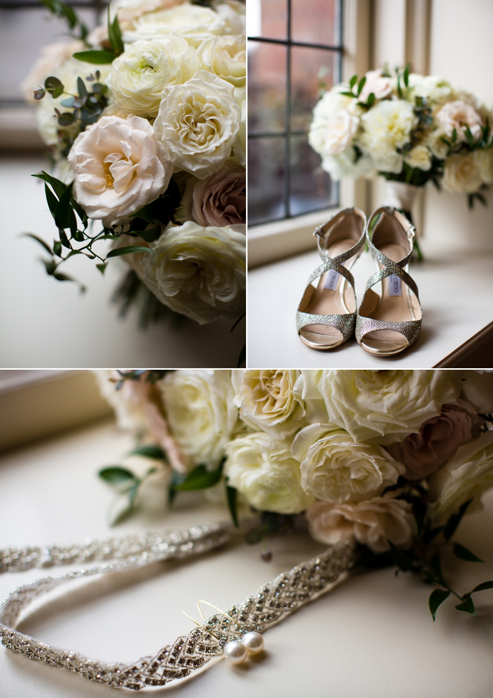 wedding-bouquet-and-silver-shoes